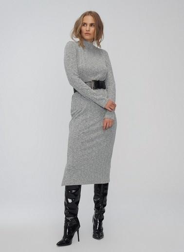 People By Fabrika Boğazlı Elbise Gri